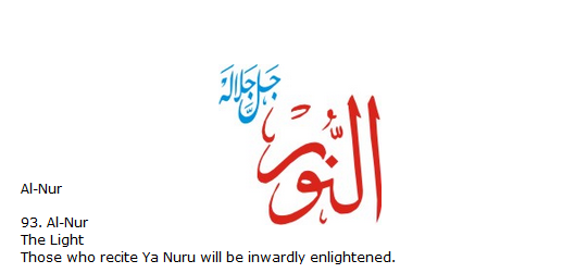 Allah name Al-nur